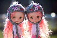 Esme and Flora in their new hats.