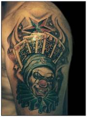nautical star gambling cards tattoo on shoulder (tattoos_addict) Tags: gambling tattoo cards star nautical shoulder startattoo