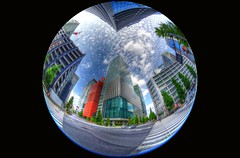 Tokyo Impressions (Matthias Harbers) Tags: street city summer sky urban tree cars ex japan clouds photoshop buildings tokyo nikon crossing capital sigma center fisheye elements d750 dxo 8mm hdr dg f35 travic chiyoda 3xp photomatix tonemapped circularfisheye sigma8mmf35exdgcircularfisheye