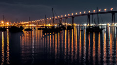 One night at Coronado Bridge. (The Sergeant AGS (A city guy)) Tags: coronadoca coronadobridge sandiego bridge california walking waterways walkingaround urban urbanexploration unitedstates seaports yacht sailboat outdoors nitephotografy