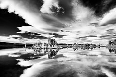 (Cat Connor) Tags: california sky white lake black mountains reflection nature water clouds landscape scenic sierra eastern tufa