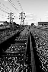 24-05-2013-20 (Tim Stewart Photography) Tags: railroad newzealand christchurch blackandwhite white black rail powerlines highvoltage