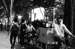 Contrast (isparavanje) Tags: street people blackandwhite bicycle night trash singapore streetphotography rubbish d5100