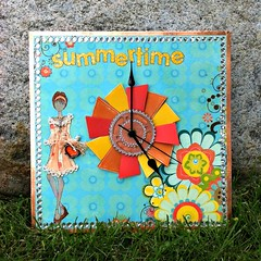 Media Mixag Summertime Clock (MyCardParty) Tags: ranger prima plaid bobunny timholtz spellbinders