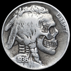 buffalo skull #11 (Seth Basista Engraving) Tags: art halloween modern skull necklace carved seth coin coins jewelry engraving horror nickel nickels hobo engraved sculpted basista