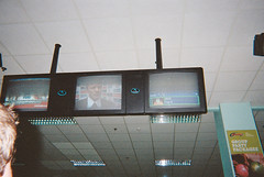 (ellebowski) Tags: 35mm photography tv bowling disposablecamera screens alanshearer