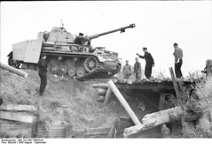 German Panzer IV tryng to cross a small wooden bridge. Russia ,August 1943