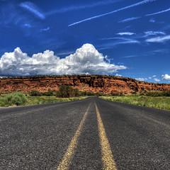 Route 66 Between Laguna and Mesita, New Mexico in HDR (eoscatchlight) Tags: newmexico clouds route66 roadtrip roadsideamerica hdr