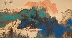 張大千1979年作遙思黃山故景潑彩山水圖 Recalling the Beautiful Scenery of Mountain Huang in China by Zhang Daqian dated 1979