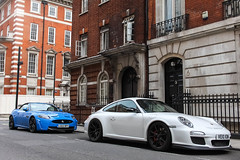 White & Blue. (Aarons14) Tags: camera blue summer white cars canon 911 convertible august porsche jaguar 1855mm rs v8 gt3 xk 500d 2013 londonsupercars aarons14
