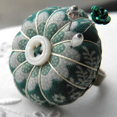 Jade Daisy Pincushion Ring 3 (Wychbury Designs) Tags: white flower green thread vintage miniature handmade sewing craft pins ring fabric jade button pincushion etsy wearable needles cushion needlecraft folksy
