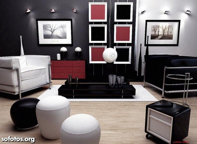 sala de estar decorada com preto e vermelho