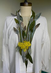 lilies together (Danny W. Mansmith) Tags: seattle green art nature thread yellow handmade embroidery oneofakind sewing details silk cotton stitching wearableart fiberart sculptural homespun lillys dannymansmith handcutfabric