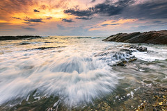(Mk Azmi) Tags: light sea sky cloud sun beach nature water sunrise flow nikon images malaysia getty terengganu d800 dungun singhray tanjungjara reversegnd
