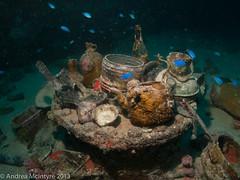 Teapots, crockery, bottles - Shinkoku Maru (amcintyr) Tags: wideangle truk wreck underwaterphotography chuuk truklagoon chuuklagoon canong10
