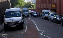 Cyclist's Eye View Of Lower Maudlin Street in Bristol 01 (samsaundersleeds) Tags: bristol traffic lorry pedestrians obstruction ambulances hospitals onewaystreet cyclelane wheelchiar lowermaudlinstreet cyclinginfrastructure contraflowcyclelane
