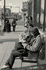 Bus Stop (dtanist) Tags: street bus film boston analog 50mm pentax kodak massachusetts harvard stop smc ricoh allston bw400cn pentaxm xrm