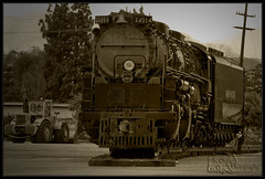 End of the Line (K-Szok-Photography) Tags: california blackandwhite monochrome sepia canon socal unionpacific pomona canondslr bigboy steamengine locomotives railroads steamlocomotive inlandempire steampower 50d 4884 canon50d up4014 kenszok kszokphotography