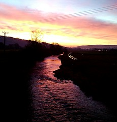 River of fire (tubblesnap) Tags: red sky orange reflection water yellow mobile sunrise river dawn phone filter editing express aire fiery ascend g300 huawei silsden pixlr flickrandroidapp:filter=none