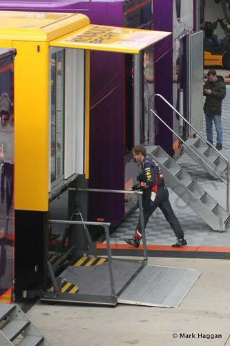 Sebastian Vettel heads for lunch at Formula One Winter Testing 2014