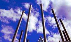 roof top oiled (gwynyfier) Tags: sky glass oregon portland architechture steel or spire colorized spike pdx traingle psu portlandstateuniversity