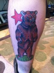 standing bear tattoo with red star on leg (tattoos_addict) Tags: bear red tattoo standing star with leg startattoo