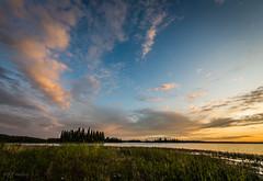 Archer Island (WherezJeff) Tags: sunset orange lake yellow landscape island nationalpark shoreline archer elkisland astotin