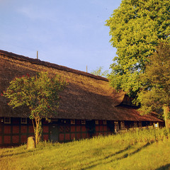 One Warm Easter Evening (Fluffina) Tags: farmhouse germany deutschland countryside land framework e6 worpswede reet fachwerkhaus niedersachsen lowersaxony bauernhaus hasselblad500cm agfarsx200 carlzeissplanar80mmf28