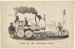 Fate of the radical party (Boston Public Library) Tags: holes prints presidents politicalcartoons ulyssessgrant andrewjohnson legislators lithographs thaddeusstevens railroadtrains reconstruction18651877 benjaminfbutler