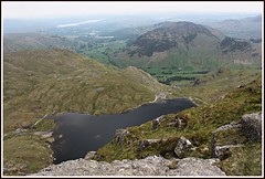 Stickle-tarn. (stu.bloggs..Dont do Sundays) Tags: trees summer lake mountains water june buildings landscape scenery rocks lakedistrict meadows farmland foliage valley cumbria fells views summit fields paths tarn crags lakeland lakewindermere langdale stickletarn paveyark rockyoutcrops