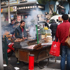 Cooking Satay. (AdrielTan) Tags: street food photography spring shanghai cctv satay