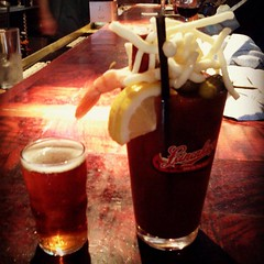 bloodies! with a lakefront riverwest stein chaser (mintysnowflake7) Tags: square squareformat hefe iphoneography instagramapp uploaded:by=instagram foursquare:venue=4ad9267cf964a520981821e3