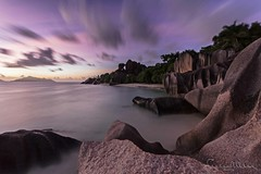 Long exposure at sunset - Seychelles (lathuy) Tags: ocean africa longexposure sunset sea sky mer beach night de stars island islands la soleil indian coucher ile boulders filter national le tropical moonlight seychelles plage indien starry source geographic equatorial rochers digue praslin granit dargent ansesourcedargent mah ndgrad mostbeautifulbeachintheworld