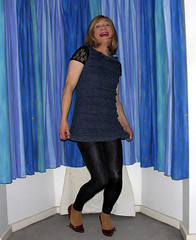 attempted curtsey (gillian .) Tags: tv dress lace feminine cd tgirl transgender mature tranny blonde transvestite heels crossdresser ts tg minidress curtsey jeggings