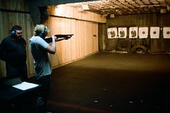 Shotgun (Stefan Buhrmann) Tags: film gun kodak bunker shooting konica af shotgun range portra riga hexar