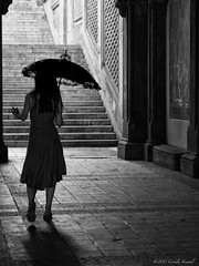 The Lady with the Lace Umbrella (CVerwaal) Tags: nyc newyork stairs centralpark silhouettes umbrellas bethesdaterrace mzuiko45mm olympusem5
