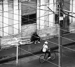 Through the wires (porCography) Tags: life road above street bw man bicycle cuba riding wires latin through everyday revolucion