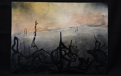 Calligraphic Landscape (Los Dave) Tags: abstract colour art texture pencil ink dark painting landscape found paint acrylic recycled drawing decay pastel horizon canvas driftwood charcoal series spraypaint lush prehistoric graphite materials lacquer primordial unpopulated upcycled