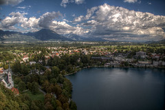 Town of Bled (pbr42) Tags: mountain lake mountains alps water landscape h2o slovenia bled hdr julianalps