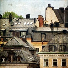 Stockholm Rooftops 2 (Milla's Place) Tags: windows buildings rooftops sweden stockholm roofs textures gamlastan oldtown chimneys textured