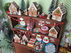 (5) Christmas at the Bakery (Foxy Belle) Tags: christmas food house holiday tree cakes cookies vintage miniature doll gingerbread barbie ornaments bakery tray diorama dollhouse playscale
