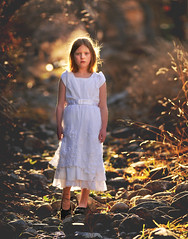 girl with white  dress in stream bed feb 2014 2 (houstonryan) Tags: white cold art girl print children photography utah bed weeds stream day photographer child dress ryan daughter houston dry tunnel redhead photograph bushes redheaded undergrowth houstonryan