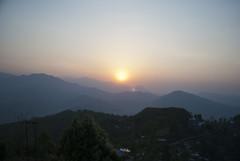 Nepali Sunrise (William J H Leonard) Tags: morning nepal sky sun mist mountain snow mountains sunrise skyscape landscape haze day valley nepalese pokhara nepali gandakizone kaskidistrict pokharavalley westerndevelopmentregion