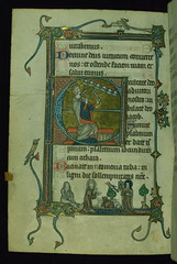 "Fieschi Psalter, Initial ""E"" with David ringing bells; St. Francis preaching to animals with friar Leo behind him, and St. Clare with monstrance, in margin, Walters Manuscript W.45, fol. 139v"