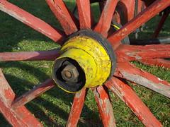 ,  ( ) Tags: wood red wheel yellow circle painted centre spoke cart radius