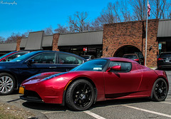 Tesla Roadster (Rivitography) Tags: red newyork car canon rebel magenta fast exotic adobe t3 expensive rare supercar tesla horsepower roadster lightroom 2014 crossriver rivitography