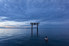 pray on the water (k n u l p) Tags: morning lake water japan sunrise shrine sony prayer torii shiga biwa biwako 琵琶湖 滋賀 1018mm 白鬚神社 nex7 sel1018 warshipper