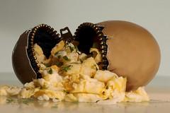 Scrambled egg, to go (for Macro Monday) (Wim van Bezouw) Tags: macromondays egg scrambled sony ilce6000 whitebackground scrambledegg eggs food breakfast