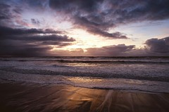 The Sunset before the Storm (Kev Cunningham) Tags: evening waves foam reflections golden sunset clouds sky sand beforethestorm stormyseas seascape
