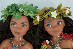2017 vs 2016 Limited Edition Moana 16 inch Dolls - Deboxed - Laying Down Side by Side - Closeup Front View (drj1828) Tags: us disneystore moana limitededition doll 16inch second edition 2017 purchase deboxed 2016 sidebyside comparison